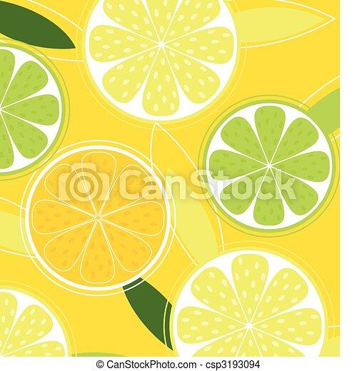 Citrus fruit background vector - Lemon, Lime and Orange - csp3193094