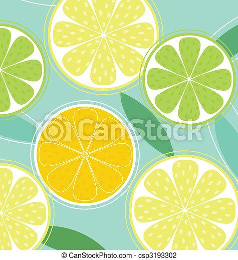 Citrus fruit background vector - Lemon, Lime and Orange - csp3193302