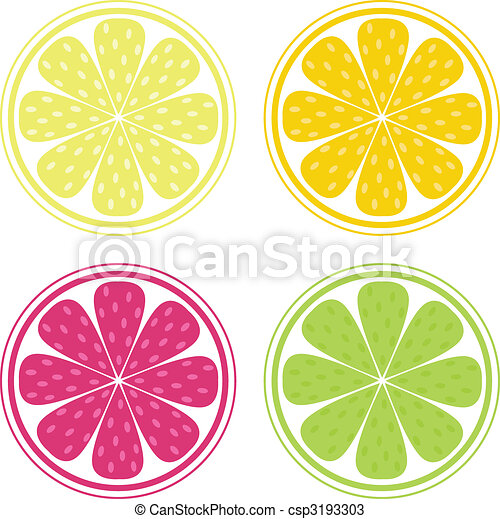 Citrus fruit background vector - Lemon, Lime and Orange - csp3193303