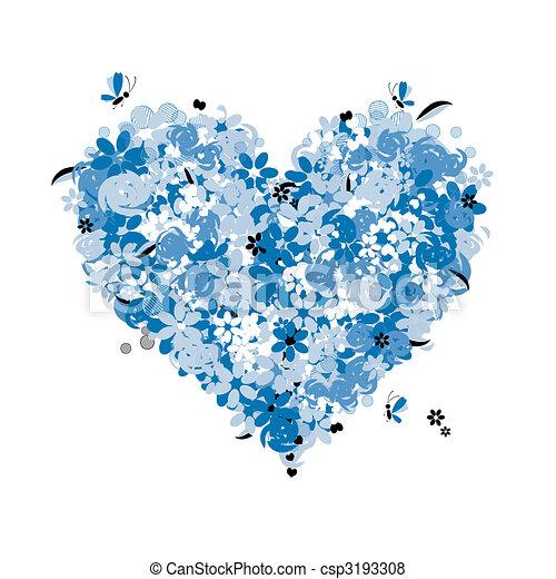 Floral heart shape, love - csp3193308