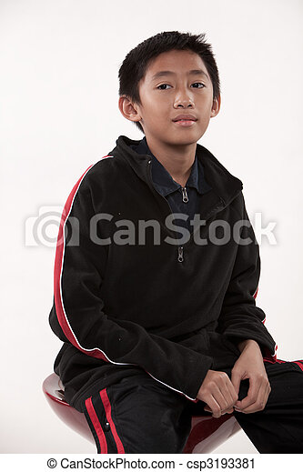 Young cute pre-teen asian boy - csp3193381