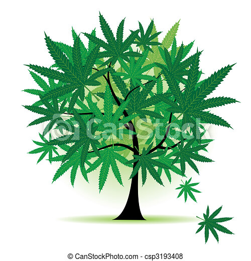Art tree fantasy, cannabis leaf - csp3193408