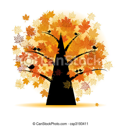 Maple tree, autumn leaf fall - csp3193411