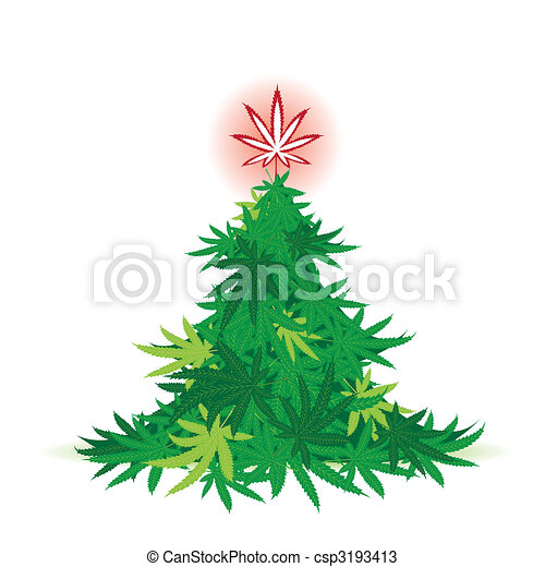 Christmas tree, cannabis leaf - csp3193413