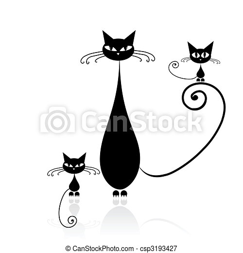 Black cat silhouette for your design - csp3193427