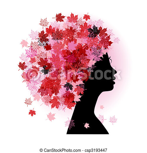Stylized woman hairstyle. Autumn season. - csp3193447