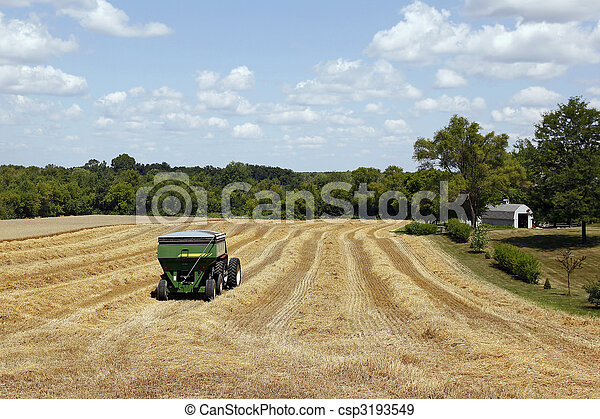 Combine harvester in wheat field - csp3193549