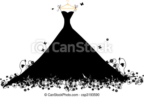 Dress black on hander, vector illustration - csp3193590