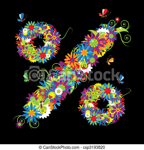 Percent sign. Floral design. See also signs in my gallery - csp3193820