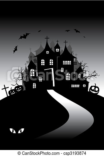 Halloween night holiday, house on hill - csp3193874