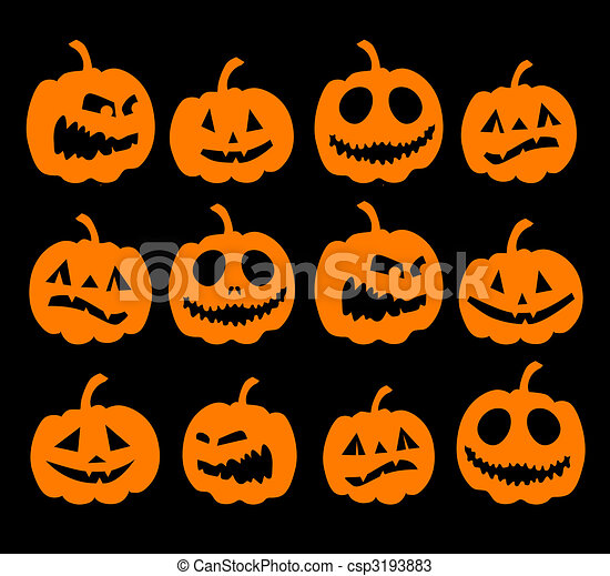 Halloween night background, pumpkins - csp3193883