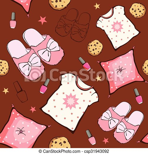 Vector Pink Brown Sleepover Party Food Objects Seamless Pattern. Pizza. Popcorn. Pajamas. Treat. - csp31943092