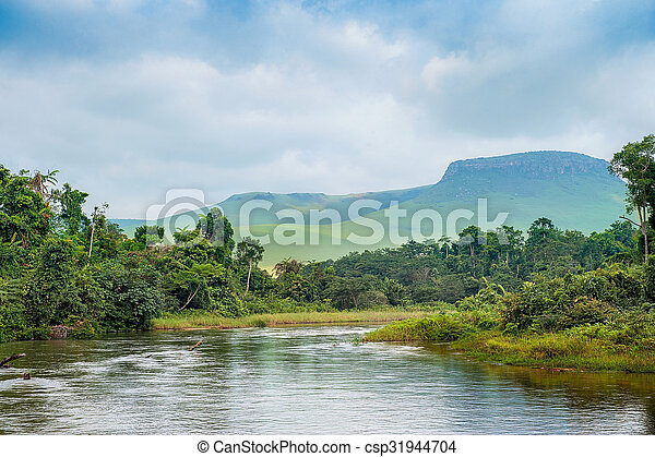 River in the Jungle. Small river in jungle. Under the cloudy sky through hills and mountains the small river proceeds on jungle. Congo. Africa