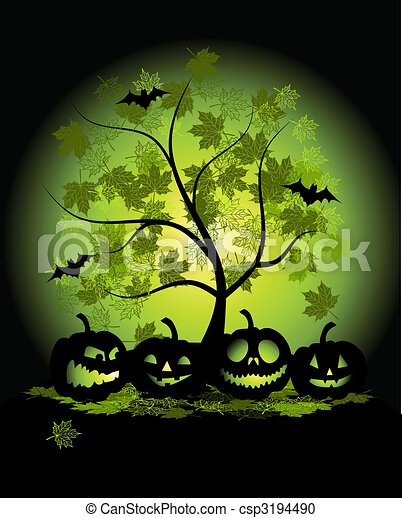 Halloween pumpkins illustration - csp3194490