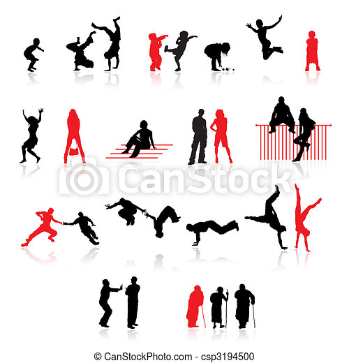 couples, vecchio, età,  Sport, silhouette, divertimento, bambini,  people: - csp3194500