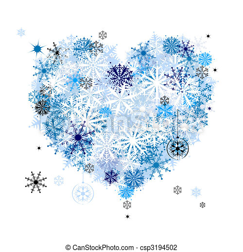 I like winter! Heart shape of snowflakes - csp3194502