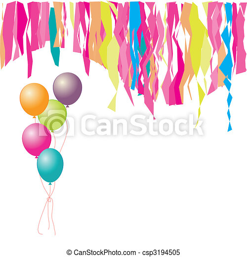 Happy birthday! Balloons and confetti. Insert your text here. - csp3194505