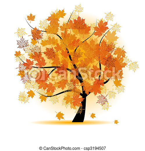 Maple tree, autumn leaf fall - csp3194507