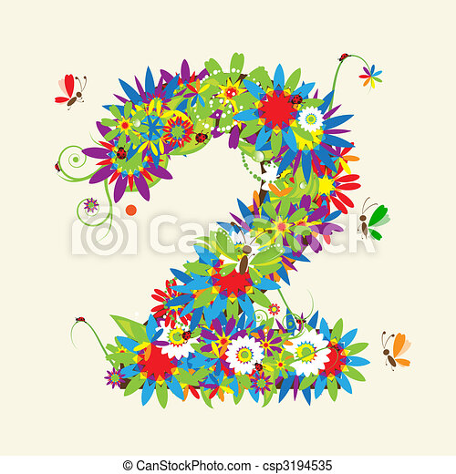 Numbers, floral design. See also numbers in my gallery - csp3194535