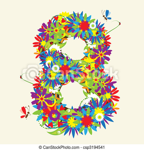 Numbers, floral design. See also numbers in my gallery - csp3194541