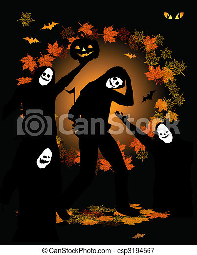 Halloween party, dancing people in costume - csp3194567