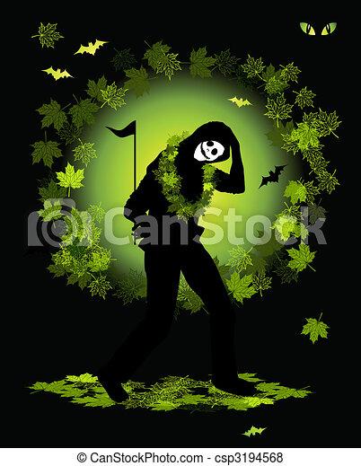 bailando, halloween el traje, fiesta, gente - csp3194568