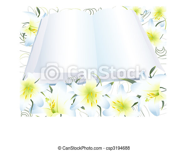 open clear book and white lily - csp3194688