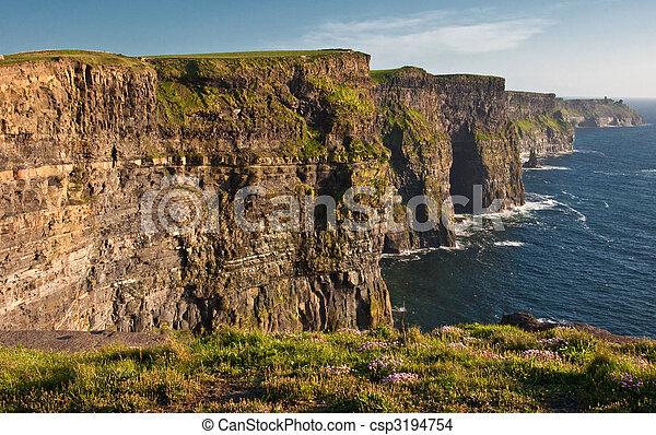 famous cliffs of moher,sunet capture,west of ireland - csp3194754