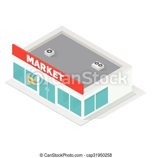 Supermarkt gebäude clipart  Clipart Vektor von gebäude, neu , isometrisch, supermarkt - New ...