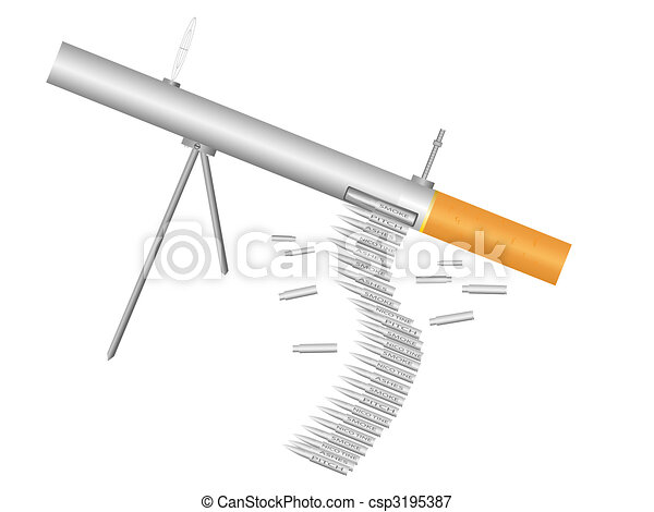 Machine gun - cigarette - csp3195387