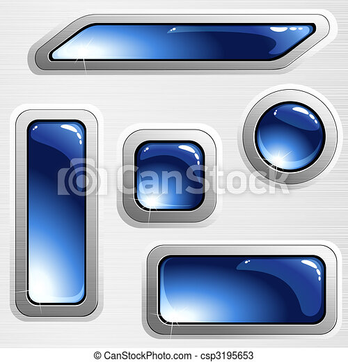 Blue brushed steel banners and buttons - csp3195653