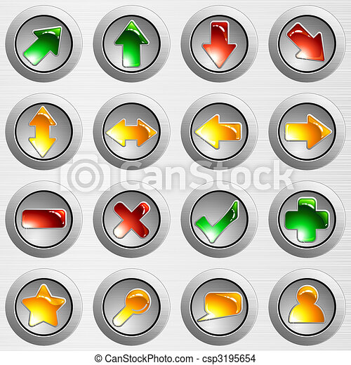 Set of light grey brushed steel buttons - csp3195654