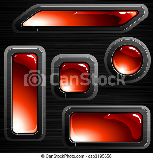 Black brushed steel banners and buttons - csp3195656