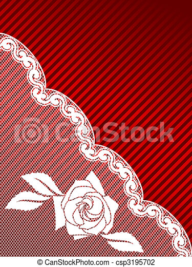 White and red French lace background, diagonal - csp3195702
