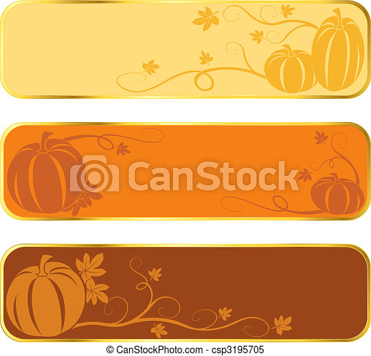 Pumpkin banners with gold rim - csp3195705