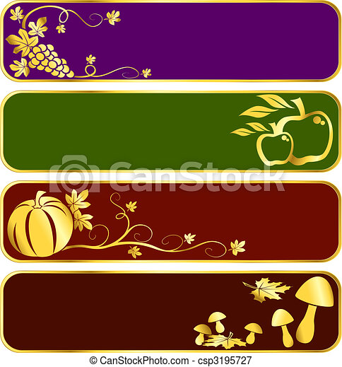 Gold harvest banners - csp3195727