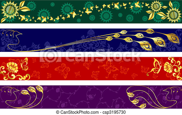 Exotic summertime banners - csp3195730