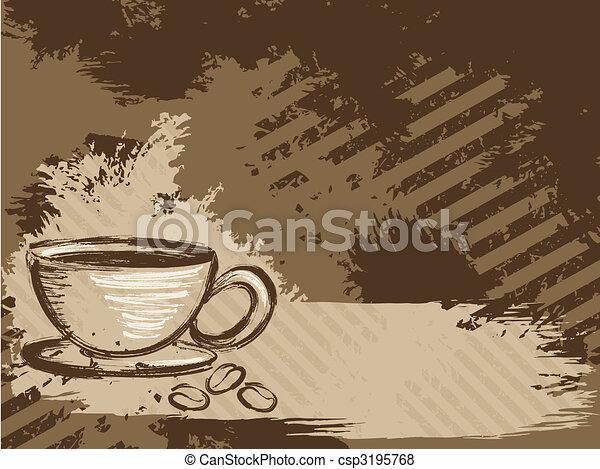 Horizontal  grungy coffee background - csp3195768