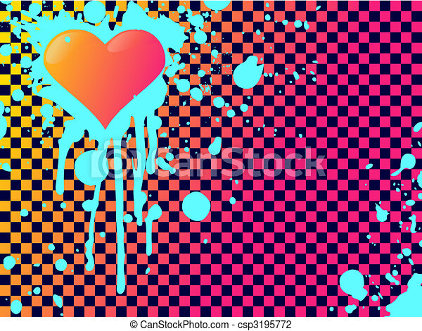 Emo heart background in clashing colors - csp3195772