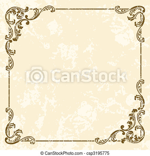 Grungy square vintage sepia frame - csp3195775