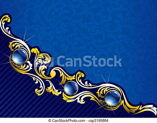 Elegant gold and blue background with gems, horizontal - csp3195884
