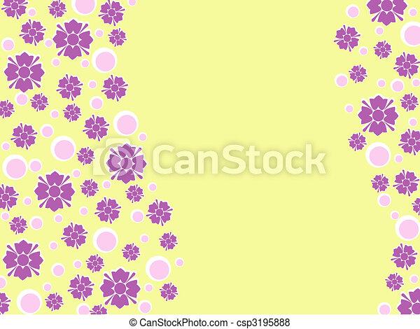 Wavy green retro floral background - csp3195888