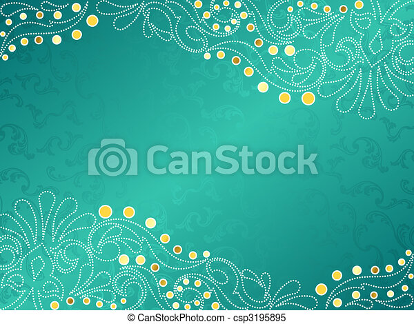 Turquoise background with delicate swirls, horizontal - csp3195895