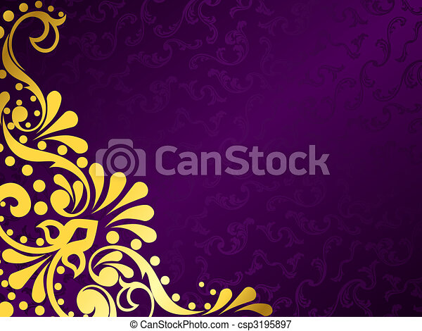 Purple background with gold filigree, horizontal - csp3195897