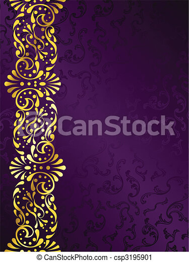 Purple background with gold filigree margin - csp3195901