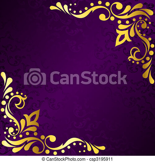 Purple frame with gold sari inspired filigree - csp3195911