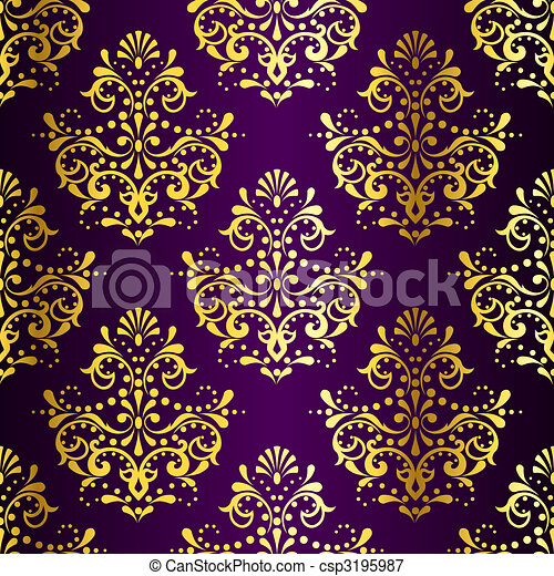 Intricate Gold on Purple seamless sari pattern - csp3195987