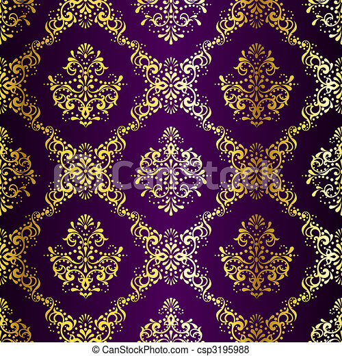 Intricate Gold on Purple seamless sari pattern - csp3195988