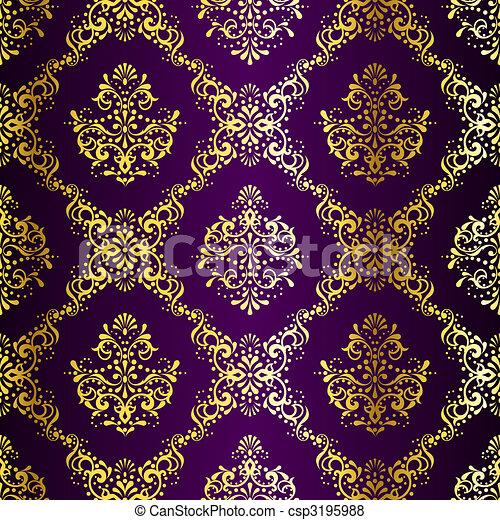 Intricate Gold on Purple seamless sari pattern - csp3195988