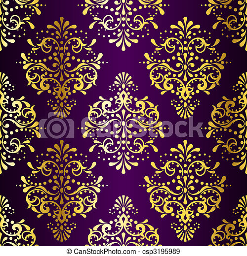 Intricate Gold on Purple seamless sari pattern - csp3195989
